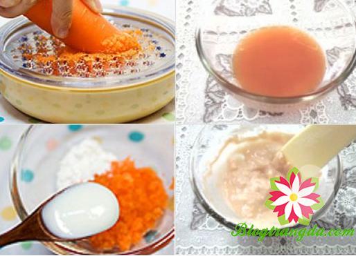 Cách làm trắng da bằng cà rốt và sữa chua