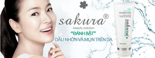 Sữa rửa mặt trị mụn cho da nhờn Sakura sạch mụn sáng da.