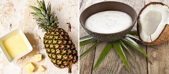 Cách làm trắng da toàn thân bằng dứa và nước cốt dừa.