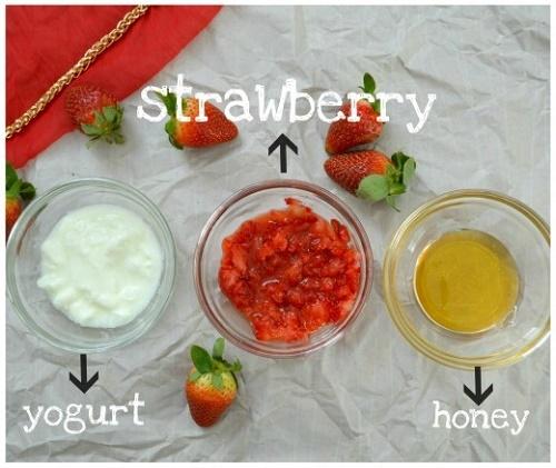cách làm trắng da mặt bằng sữa chua, dâu và mật ong