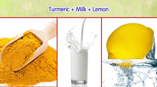 cách làm trắng da mặt bằng sữa tươi, bột nghệ và chanh