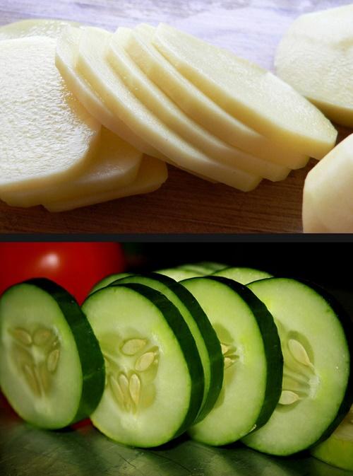 mách nhỏ cách làm trắng da mặt từ nước ép khoai tây và dưa leo